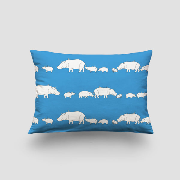 small cushion hippo blue lagoon