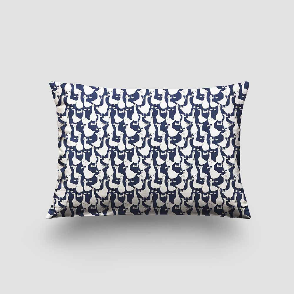 small cushion geese ink blue
