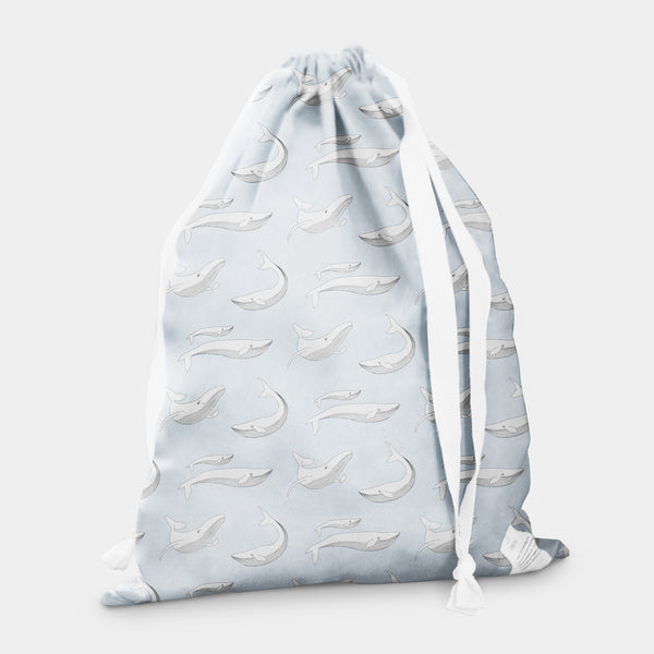laundry bag whale moon grey