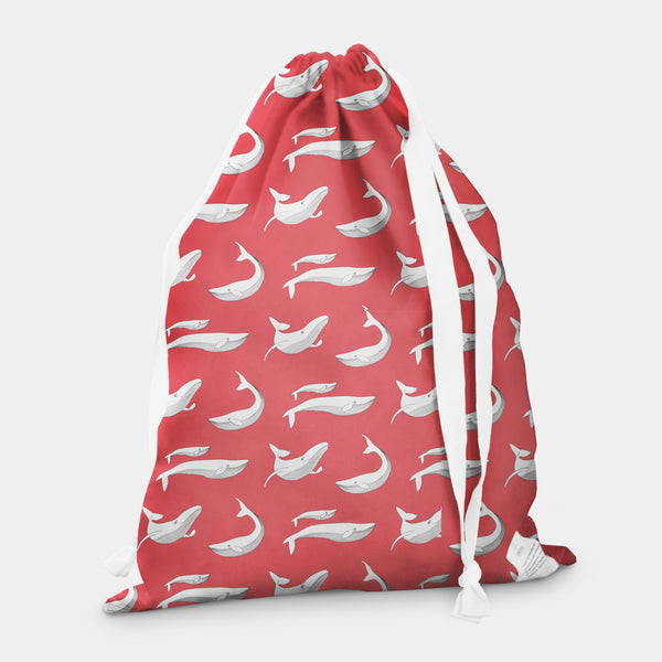 laundry bag whale splash red