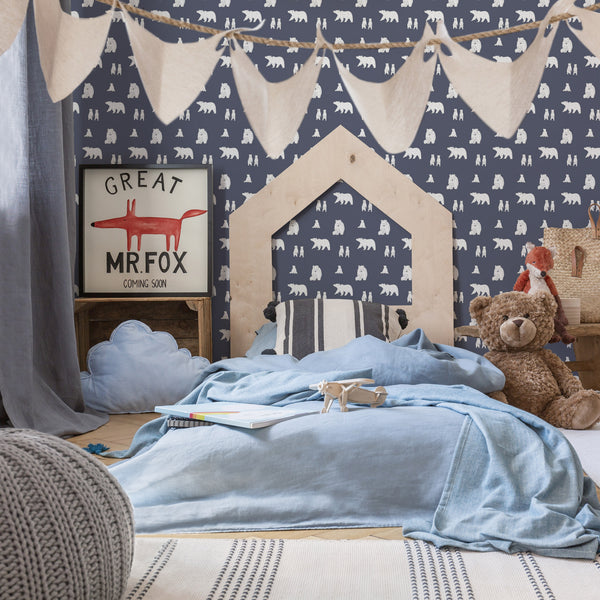 wallpaper bear slate grey