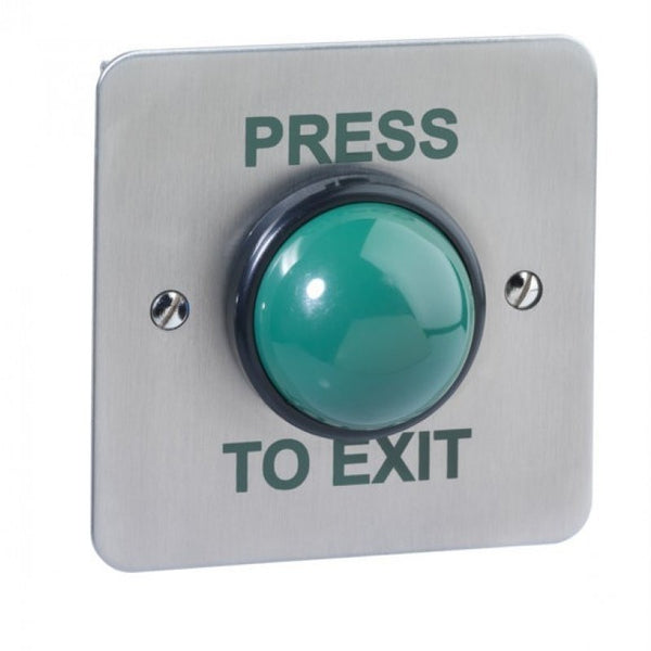 STP-SPB004S Surface Mount Green Dome Stainless Steel Exit Button