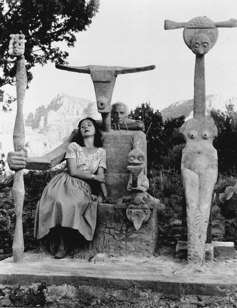 Capricorn season // dorothea tanning and max ernst with his sculpture Capricorn