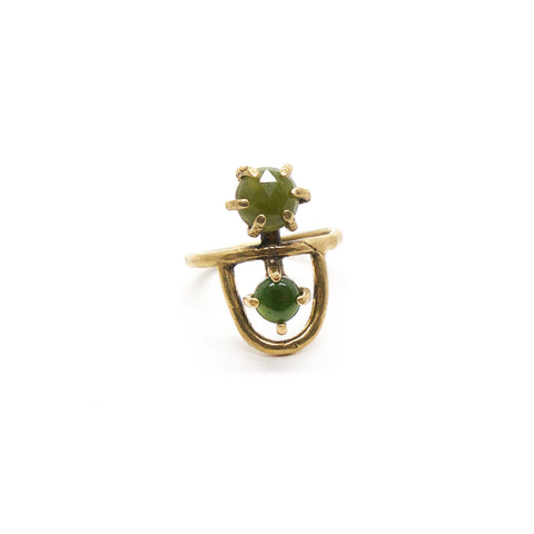 Arche Ring // Jade & Vessonite