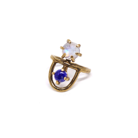 Arche Ring // Moonstone & Lapis {wholesale}