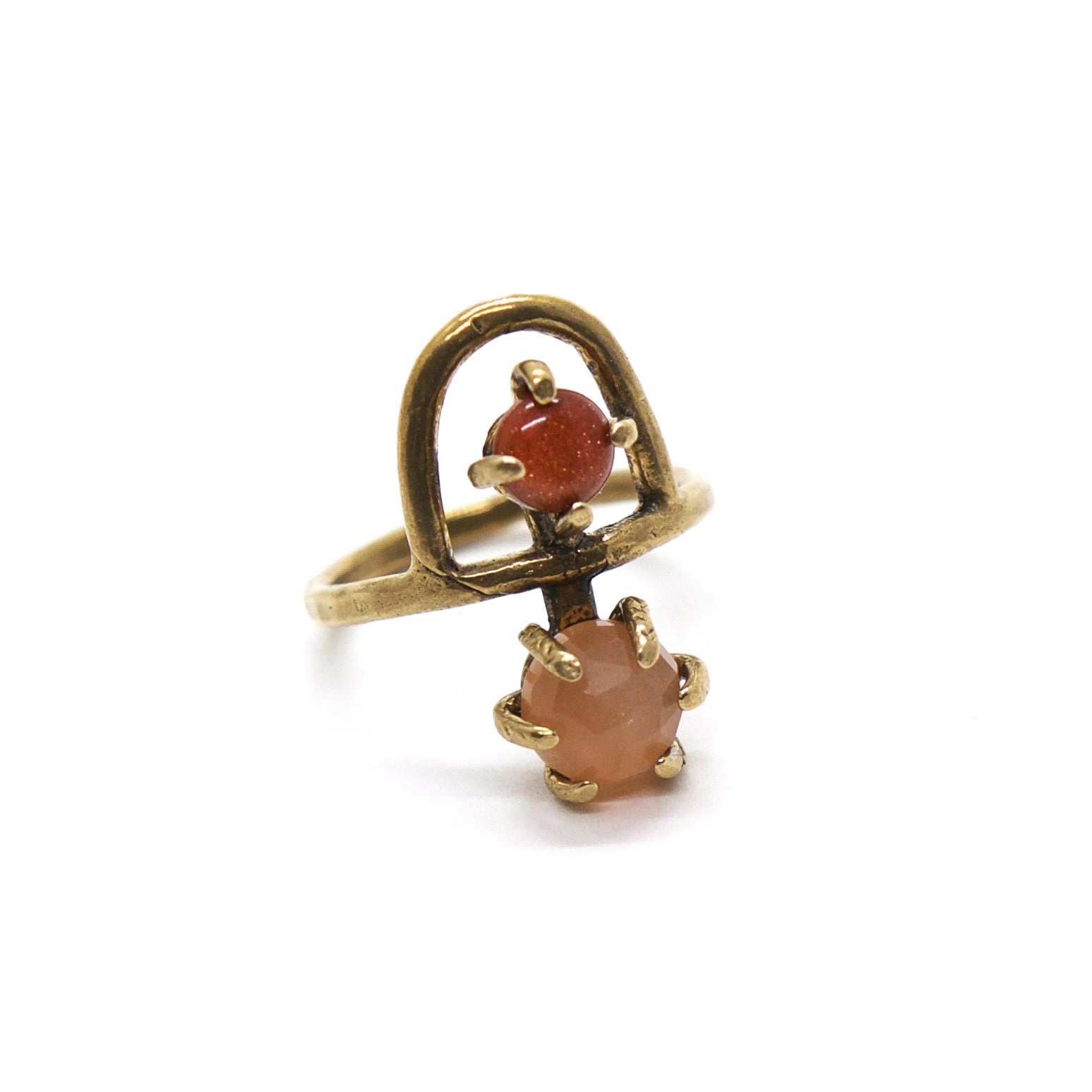 Arche Ring // Peach Moonstone & Goldstone {wholesale}