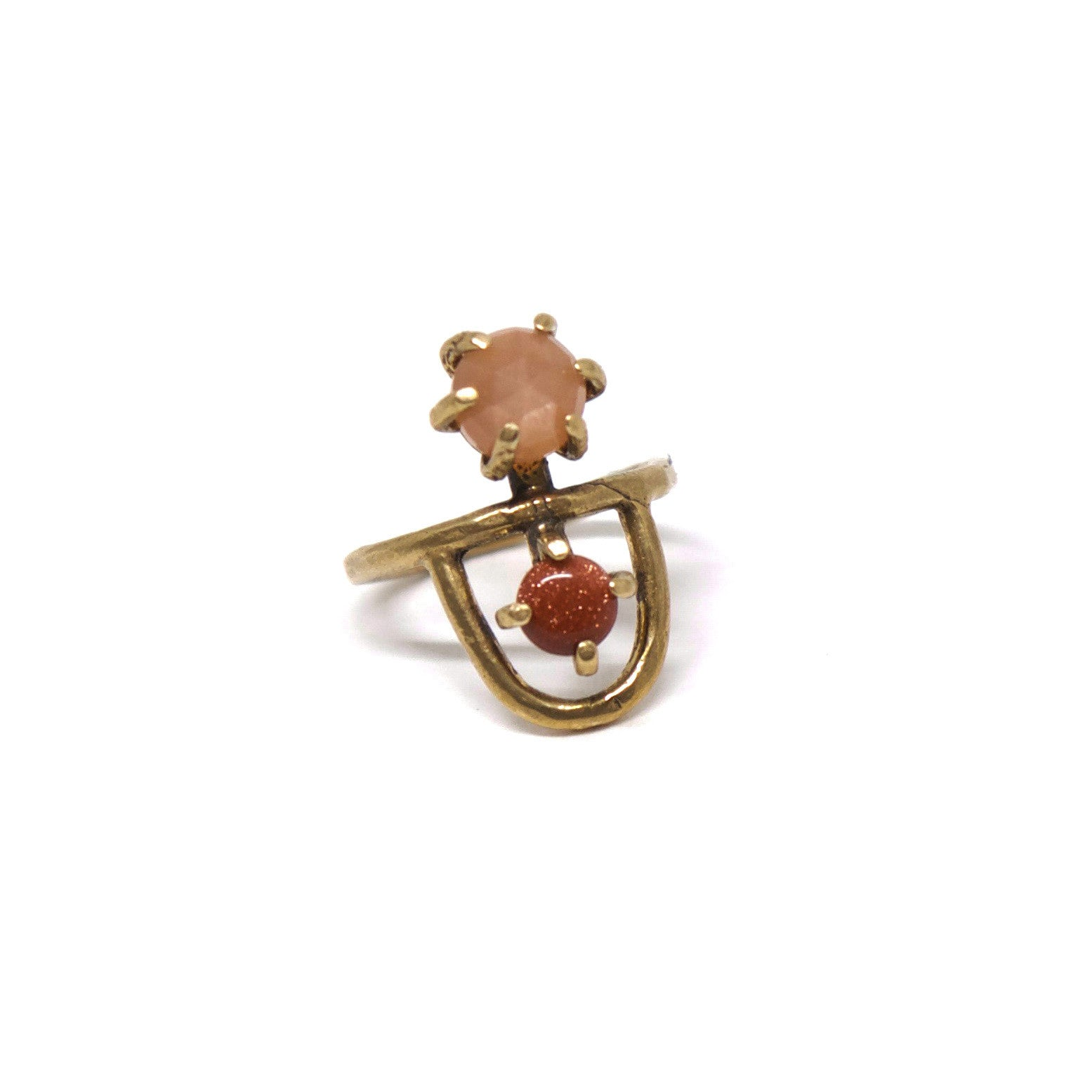 Arche Ring // Peach Moonstone & Goldstone