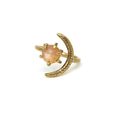 Io Ring // Peach Moonstone {wholesale}
