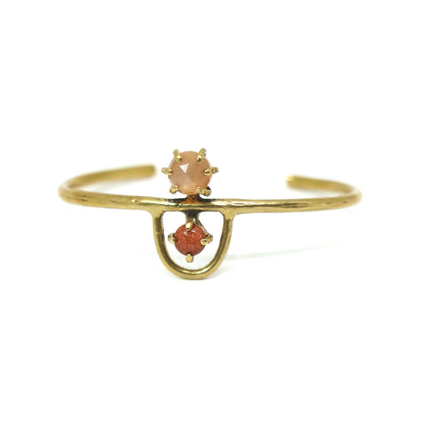 Arche Cuff // Peach Moonstone & Goldstone {wholesale}