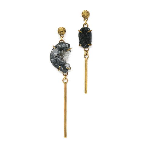 Black Amethyst Crystal Druzy Earrings