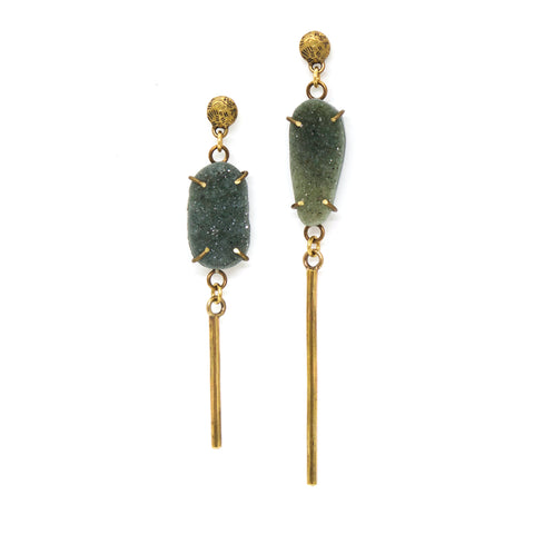 Green Chlorite Quartz Crystal Druzy Earrings