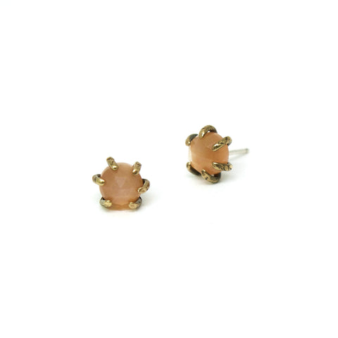 Io Studs // Peach Moonstone