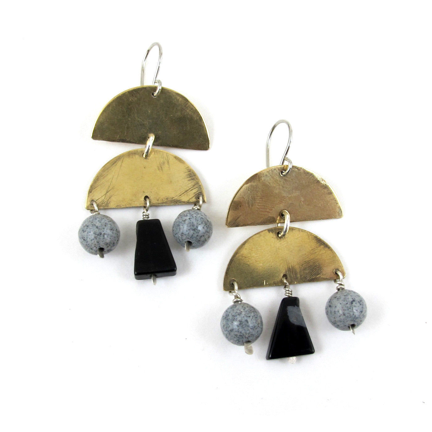 Stone Veil Earrings // obsidian & gray spotted feldspar