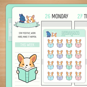 Read a Book Corgi Planner Stickers