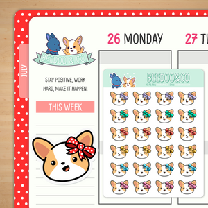 Miso the Corgi Wearing Bows Planner Stickers