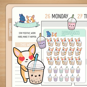 Bubble Tea Planner Stickers
