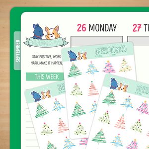 Simple Christmas Tree Planner Stickers