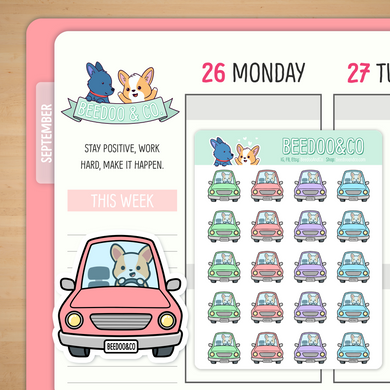 Miso Corgi Driving Car Planner Stickers
