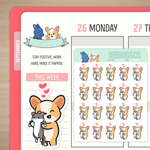 Miso Corgi Has A Pet Cat Planner Stickers