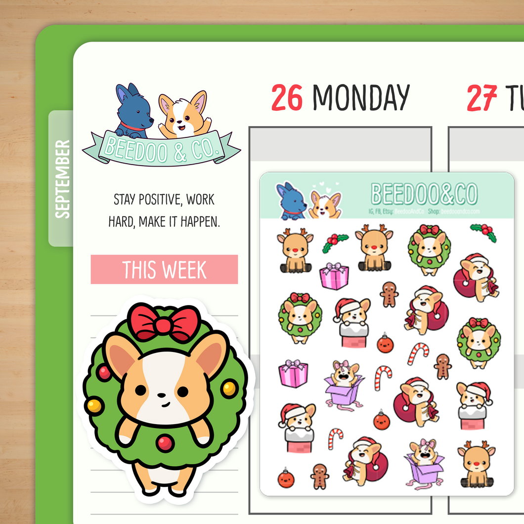 Christmas 2.0 Corgi Planner Stickers