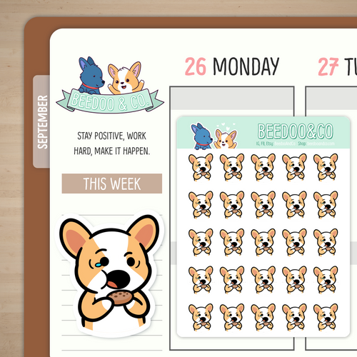 Cookie Noms Miso Corgi Planner Stickers