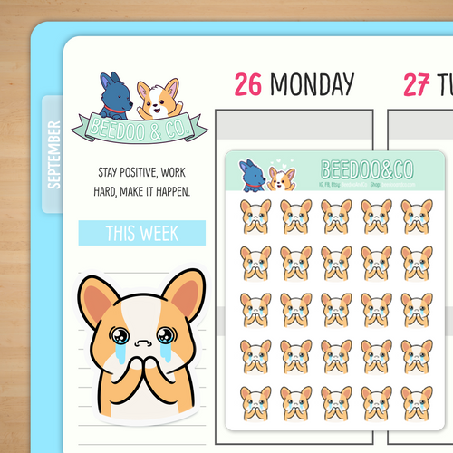 Crying Miso Corgi Planner Stickers