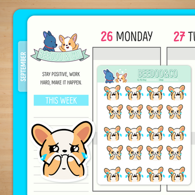 Sad Crying Miso Corgi Planner Stickers