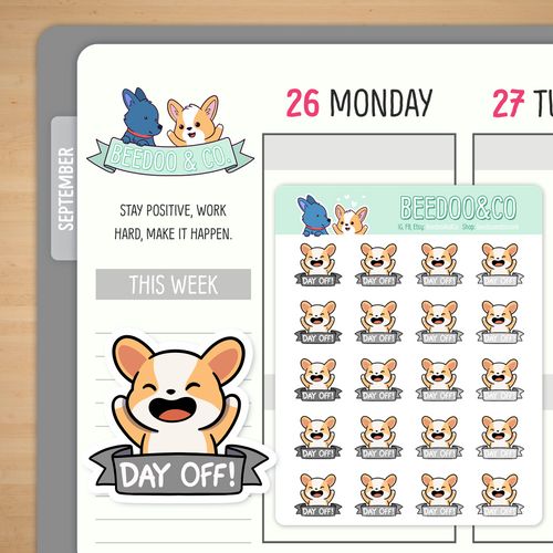 Day Off Miso Corgi Planner Stickers - Greyscale
