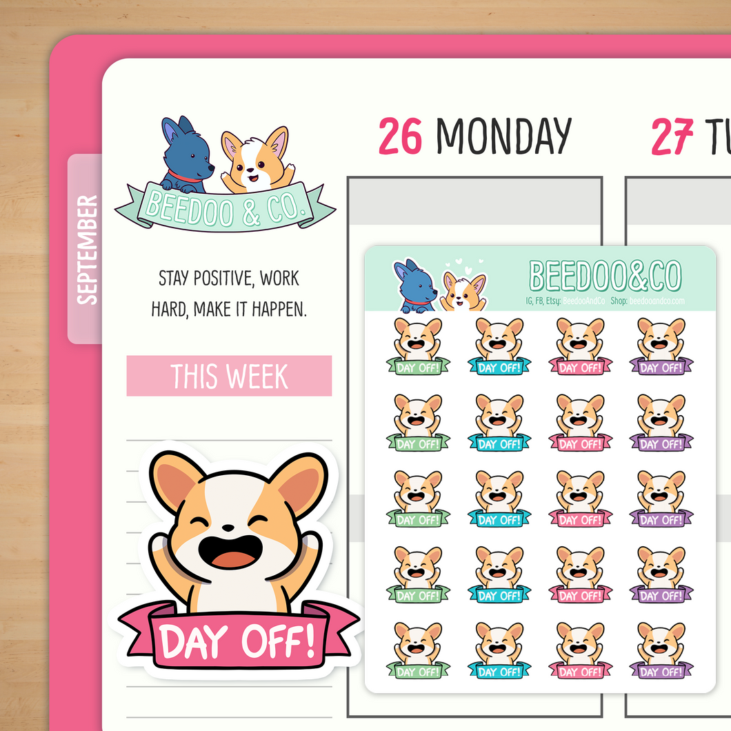 Day Off Miso Corgi Planner Stickers - Neon