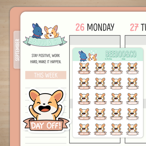 Day Off Miso Corgi Planner Stickers - Nudes