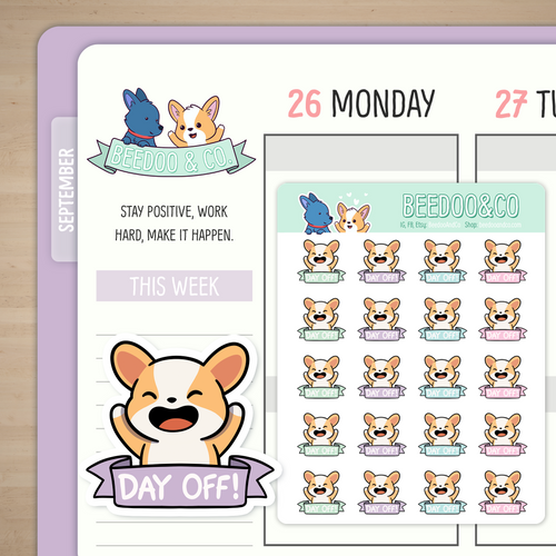 Day Off Miso Corgi Planner Stickers - Pastels