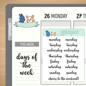 Script Days of the Week Planner Stickers