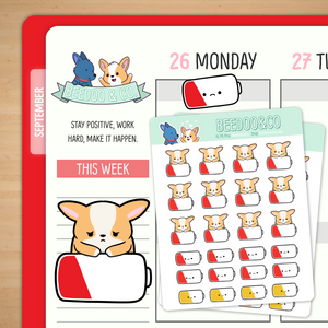 Empty Battery Planner Stickers