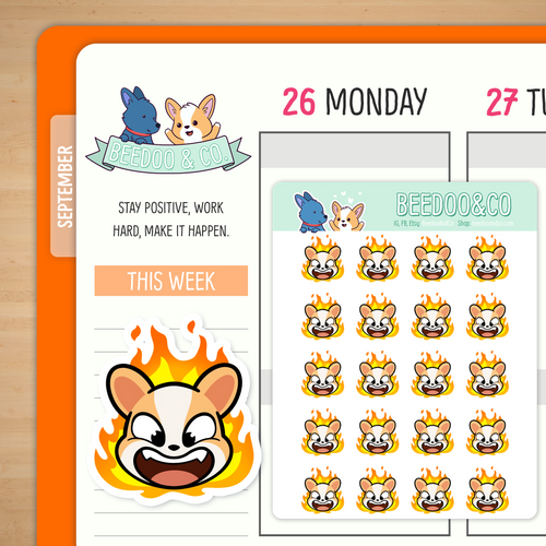 Angry On Fire Miso Corgi Planner Stickers