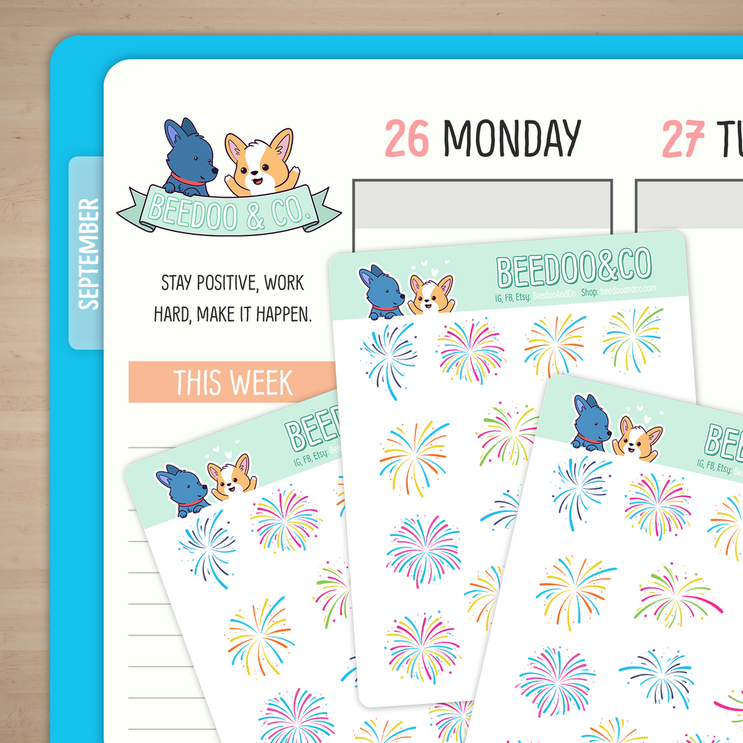 Colourful Fireworks Planner Stickers