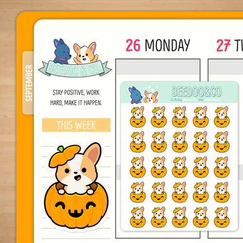 Miso the Corgi in a Pumpkin Planner Stickers