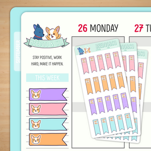 Horizontal Page Flag Planner Stickers