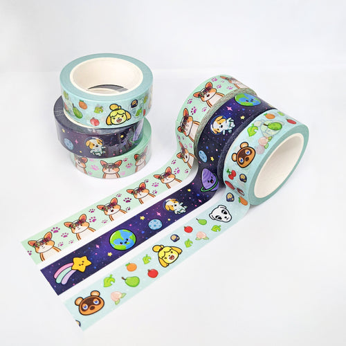 15mm Animal Villager Washi Tape, Galaxy Space Corgi Washi Tape, Pink Floral Crown Corgi Washi Tape