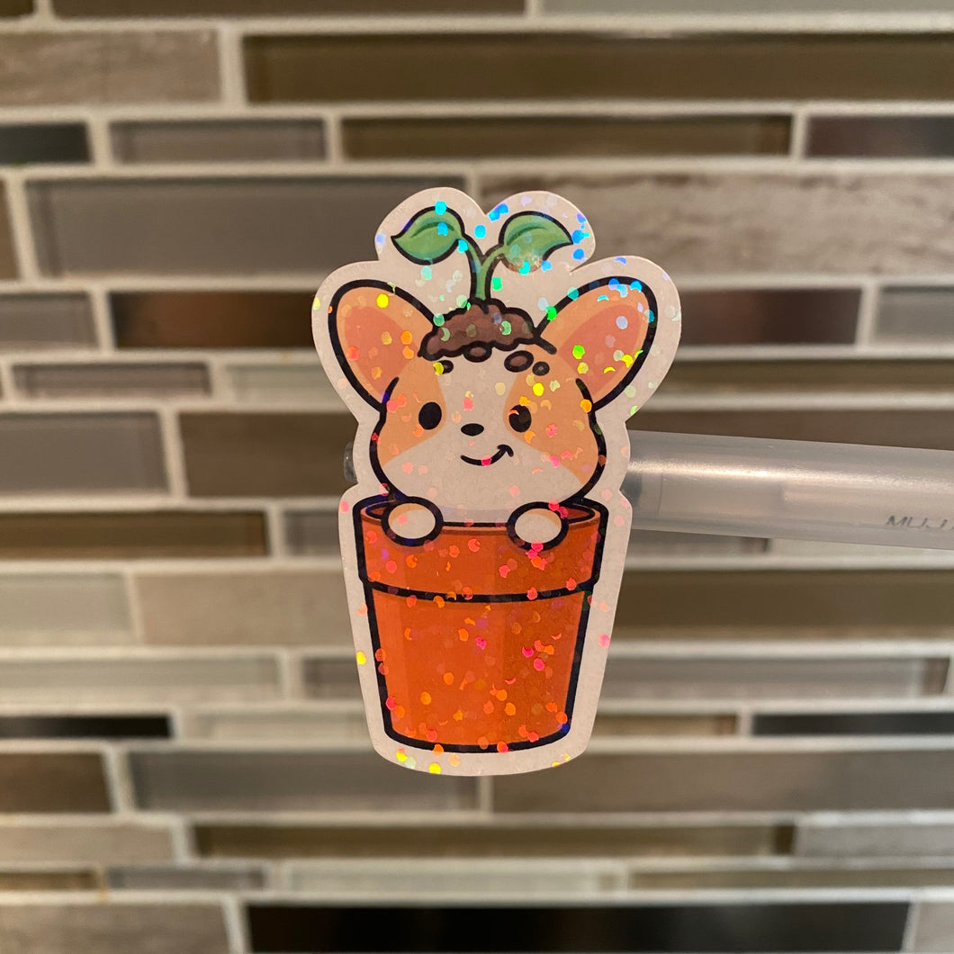 Holographic Corgi In A Potted Plant