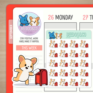 Miso Corgi Sending Mail (Red) Planner Stickers