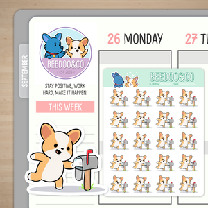 Miso Corgi Getting The Mail Planner Stickers