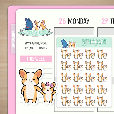 Miso Corgi Mommy And Me Planner Stickers