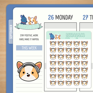 Miso Listening to Music Planner Stickers