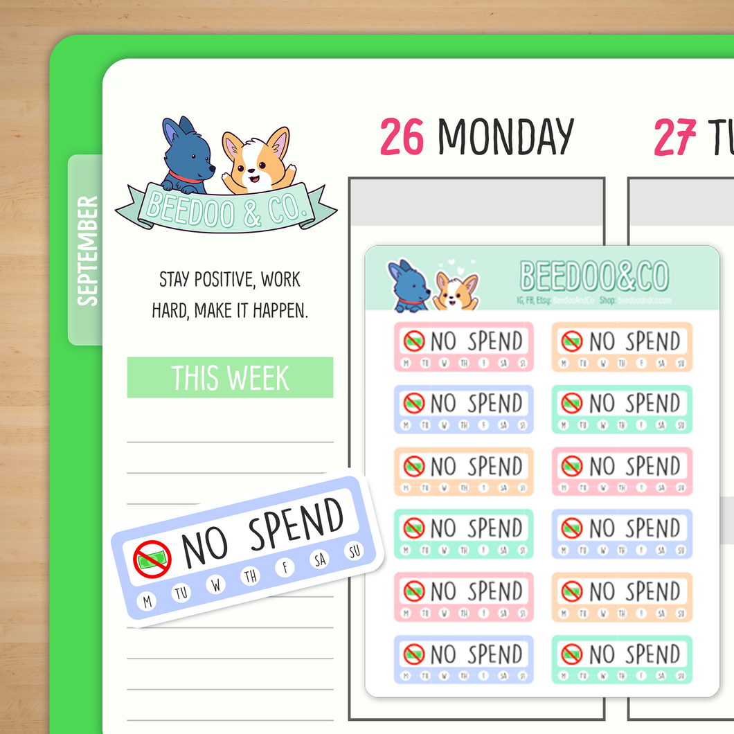 No Spend Weekly Tracker Planner Stickers