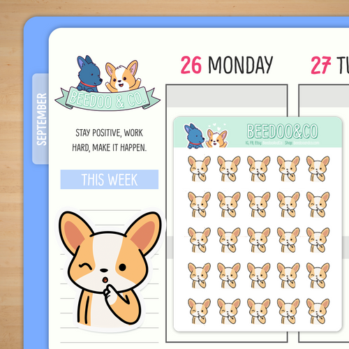 Shh Keep A Secret Miso Corgi Planner Stickers
