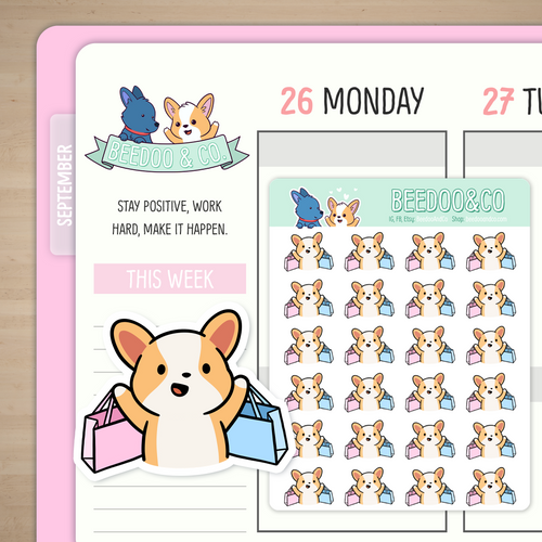Shopping Spree Miso Corgi Planner Stickers