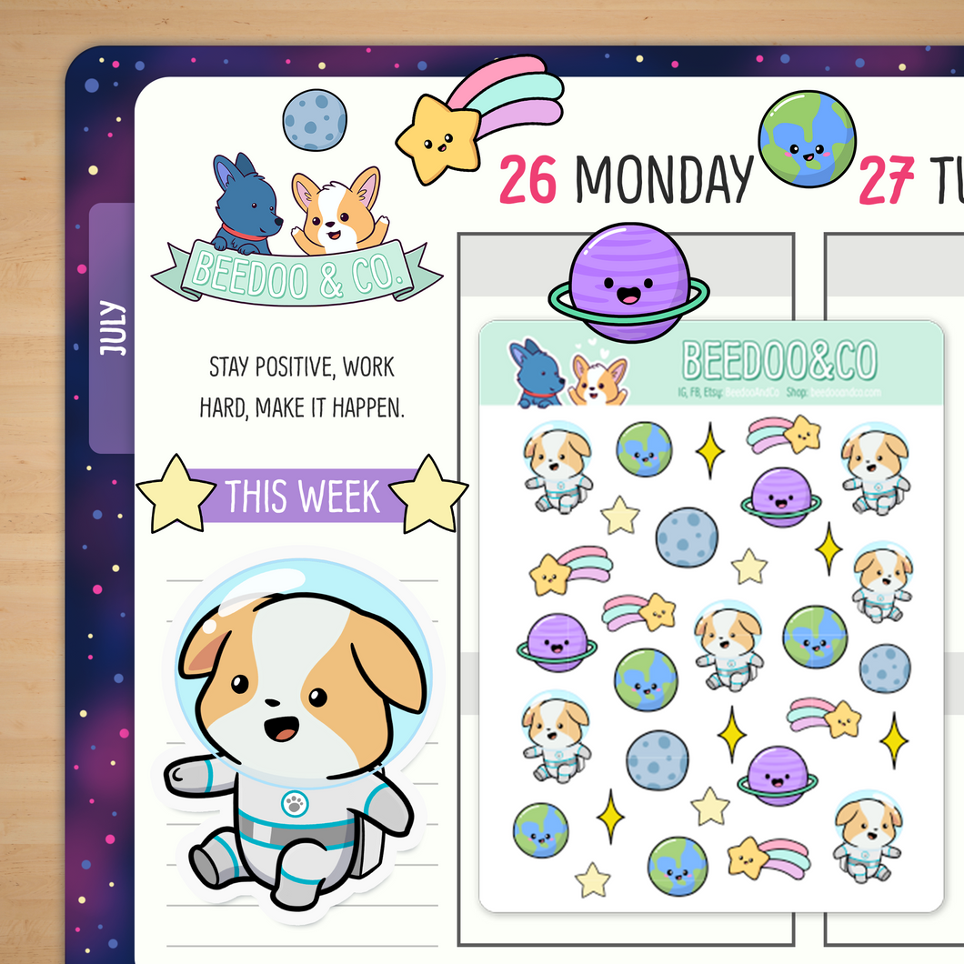 Space Corgi Planner Stickers