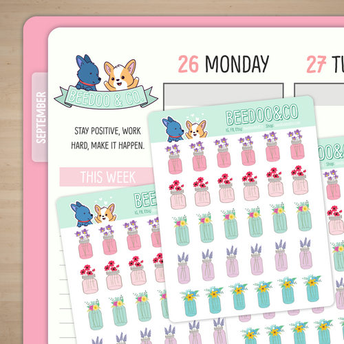 Floral Mason Jars Planner Stickers
