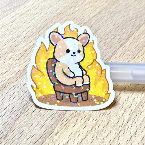 Holographic Corgi On Fire Die Cut Sticker