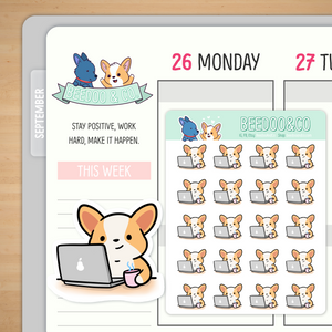 Miso Corgi Laptop Stickers